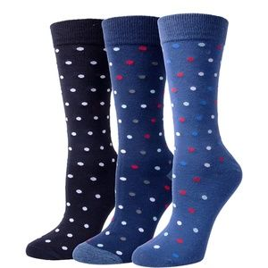 Mens Cotton Blend Crew Dress Socks Polka Dot 3pk